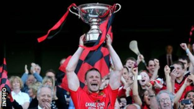 Down captain Paul Braniff holds the Christy Ring Cup aloft
