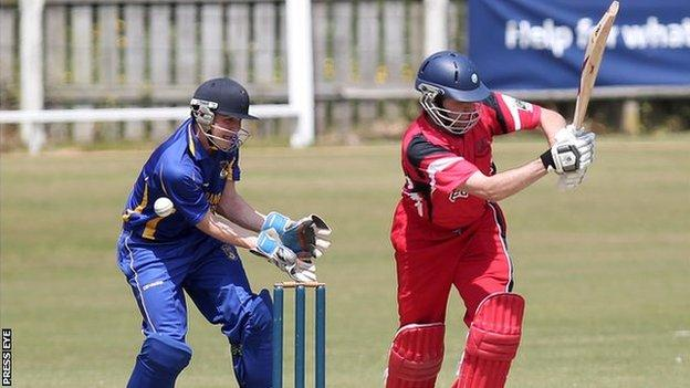 The ball beats both Waringstown batsman Kyle McCallan and Donemana wicket-keeper Ricky Lee Dougherty in the Irish Senior Cup clash