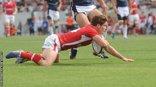 Cardiff Blues wing Harry Robinson dives over for a try for Wales in the 22-18 win over Japan in Osaka