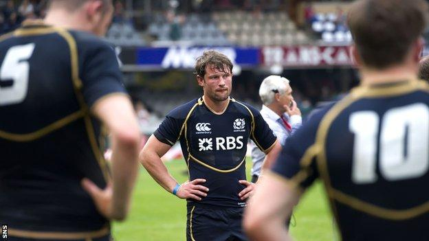 Scotland's Peter Horne looks dejected after defeat by Samoa