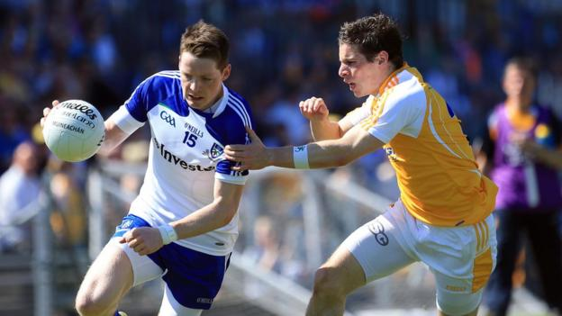 Conor McManus and Kevin O'Boyle in action at a sundrenched Casement Park as Monaghan defeat Antrim