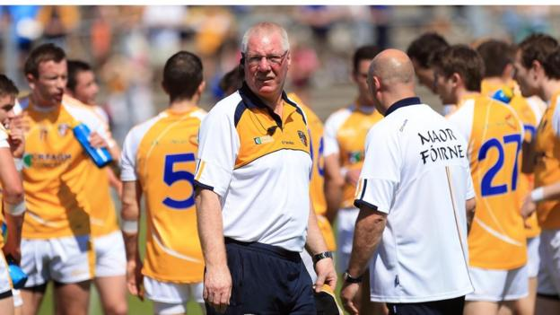 Antrim manager Frank Dawson watched his side go down 0-11 to 0-6 to Malachy O'Rourke's Monaghan