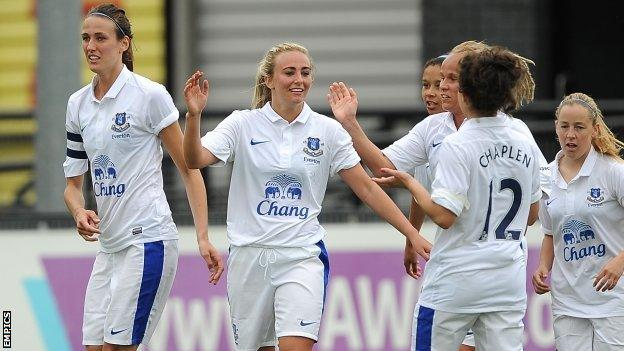 Toni Duggan (second left) is congratulated by her team-mates after scoring for Everton