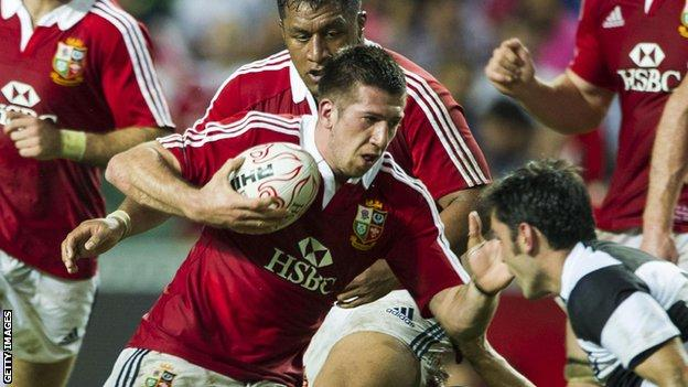 Justin Tipuric in action for the British and Irish Lions against the Barbarians in Hong Kong