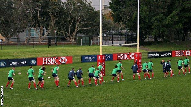 The Lions train on the Number Two Sportsground in Newcastle