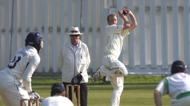 Scott Campbell bowling for Ireland A
