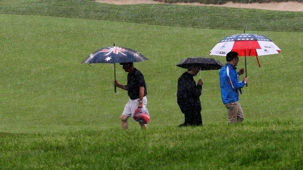 Heavy rain at Merion Golf Club