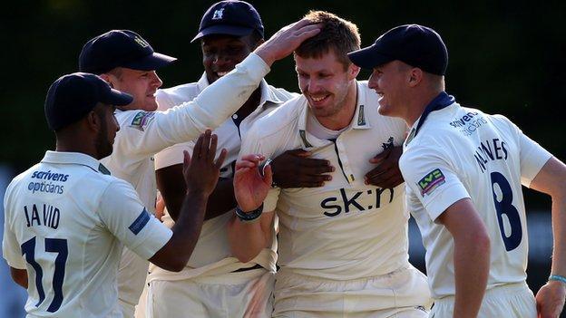 Bears celebrate another Boyd Rankin wicket