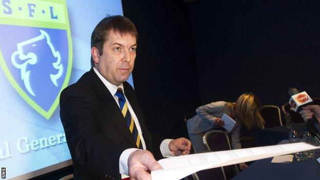 SFL chief executive David Longmuir addresses the media at Hampden