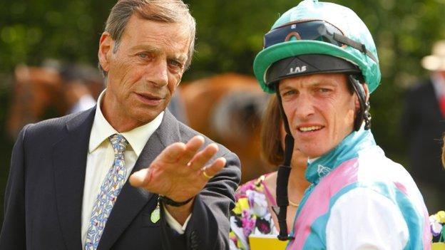 Sir Henry Cecil with jockey Richard Hughes