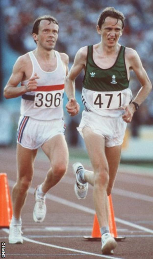 John Treacy (right) battles with Britain's Charlie Spedding for silver and bronze at the 1984 Olympics in Los Angeles