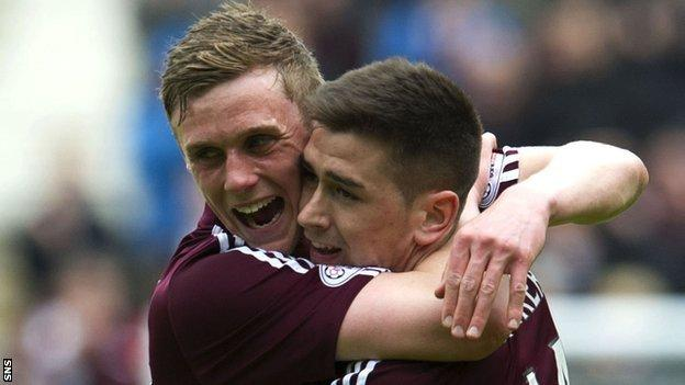 Hearts players Kevin McHattie and Jason Walker