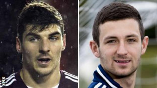 Hearts players Callum Paterson and Jason Holt