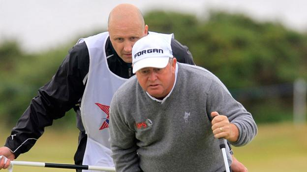 Ian Woosnam lines up a putt during the first round of the Wales Seniors Open tournament at Royal Porthcawl on Friday.