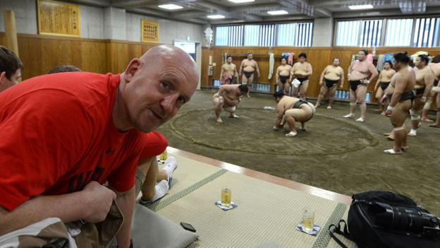 Wales national rugby team defence coach Shaun Edwards during a visit by the squad to a Sumo training centre in Tokyo.