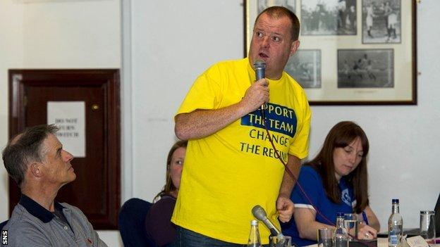 Sandy Armour addresses the meeting