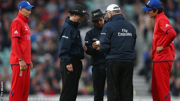 The umpires change the ball at The Oval