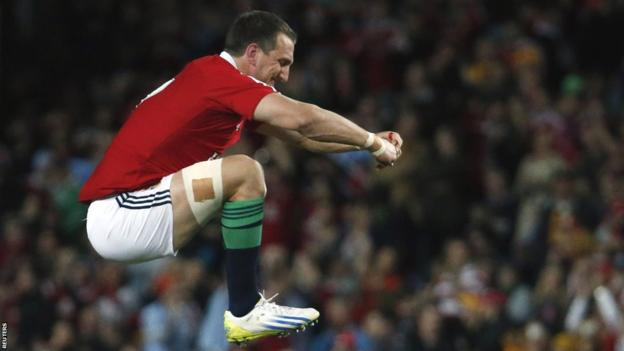 British and Irish Lions captain Sam Warburton warms up ahead of the tour match against NSW Waratahs in Sydney