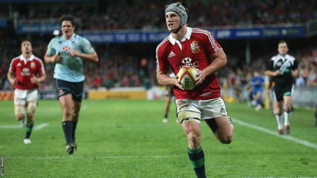 Centre Jon Davies goes over for a well-deserved try as the Lions beat the Waratahs 47-17