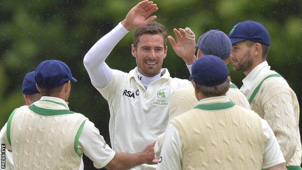 Max Sorensen celebrates taking his fifth wicket against Australia A