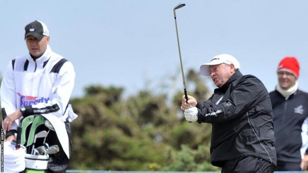 Ian Woosnam remains ahead of his rivals on day two at the Wales Senior Open in Porthcawl