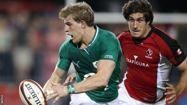 Andrew Trimble in action for Ireland against Canada