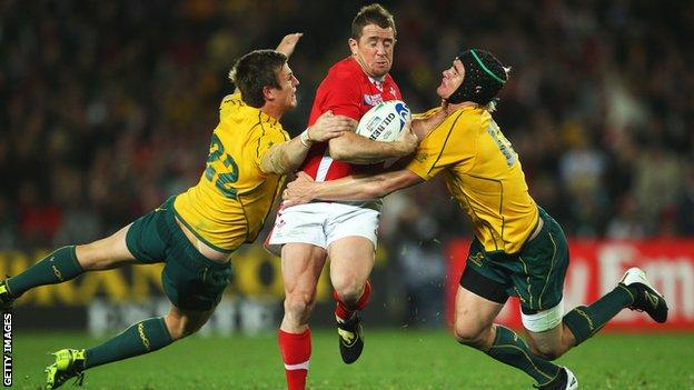 Shane Williams (centre) last played against Australia at the 2011 World Cup
