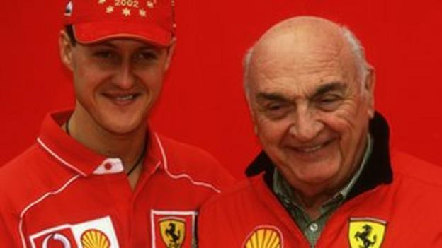Jose Froilan Gonzalez (right) with Michael Schumacher