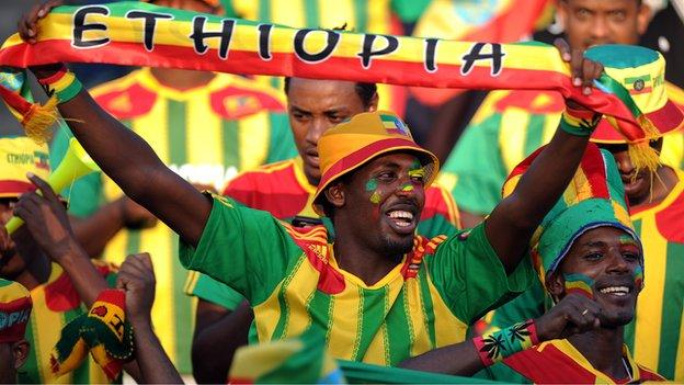 An Ethiopian football fan