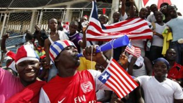 Liberia fans rally their team during Sunday's match against Senegal