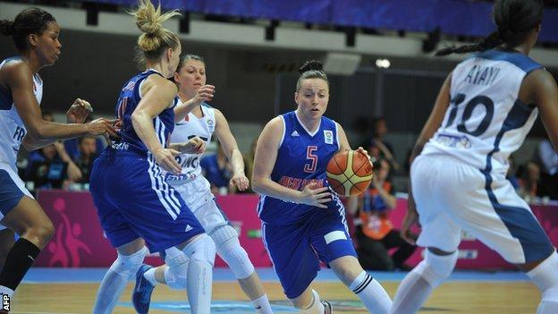 GB's Rose Anderson runs with the ball in 2013 EuroBasket match against France