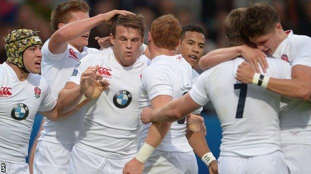 England celebrate Matt Hankin's try