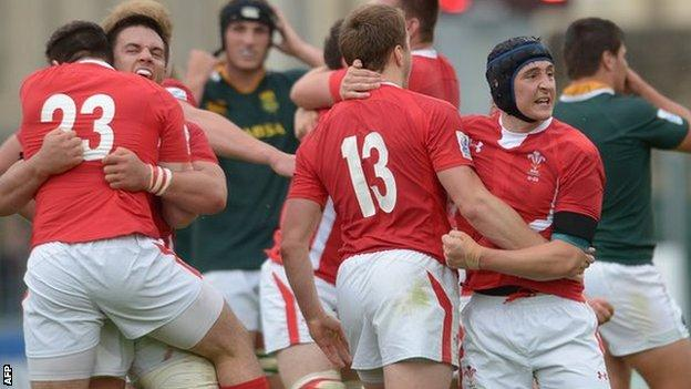 Wales players celebrate victory over South Africa