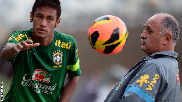 Luis Felipe Scolari (right) with Neymar