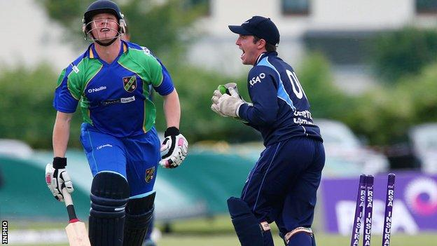Leinster's Fintan McAllister celebrates after stumping Andrew Riddles of North West Warriors