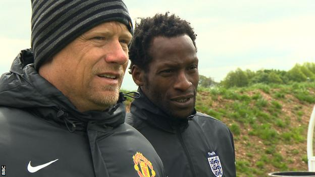 Peter Schmeichel and Ugo Ehiogu