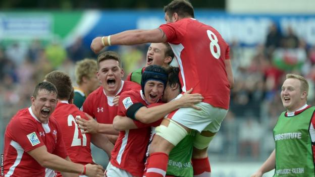 Wales Under-20 celebrate the Junior World Cup final win over South Africa that sent them into Sunday's final against England U20 in Vannes, France