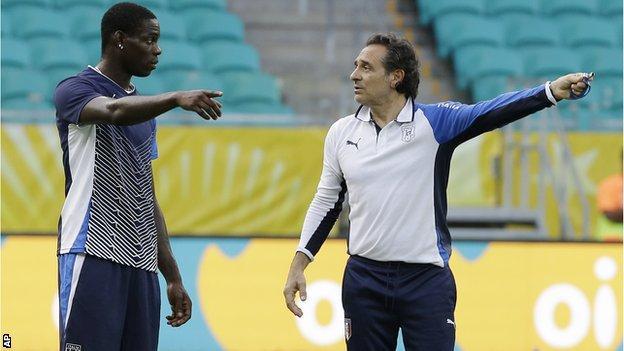 Mario Balotelli and Cesare Prandelli