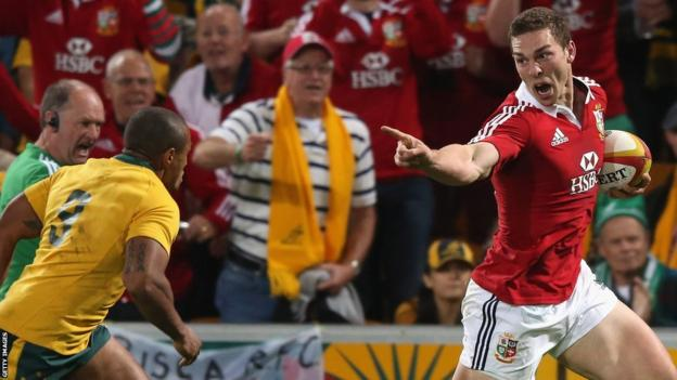 George North goes over for the first British and Irish Lions try in their opening Test against Australia in Brisbane