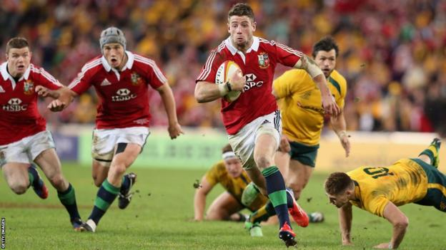 Alex Cuthbert breaks away to score for the Lions