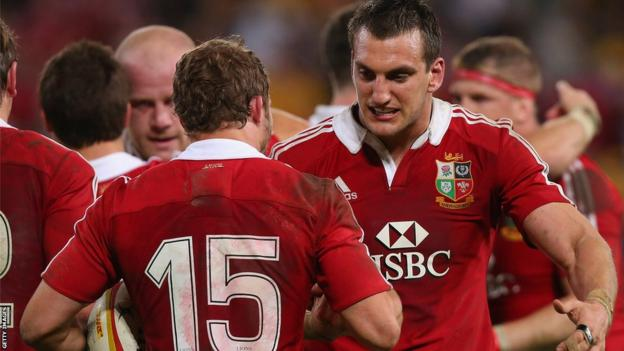 The Lions secure a 23-21 win in a tense encounter, at the end of which skipper Sam Warburton celebrates with Halfpenny