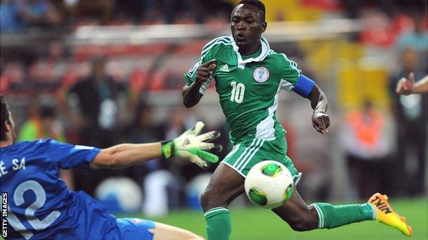 Abdul Ajagun of Nigeria scores for Nigeria against Portugal
