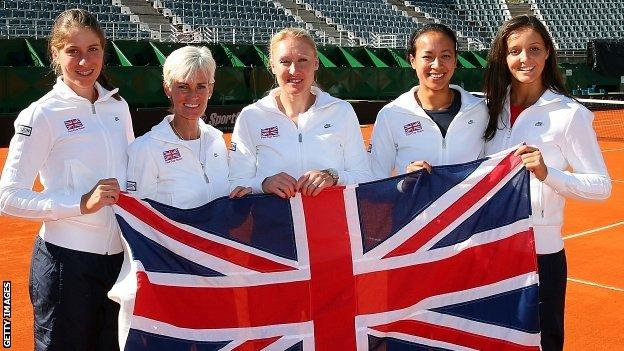 Johanna Konta, Judy Murray, Elena Baltacha, Anne Keothavong and Laura Robson before a Fed Cup match