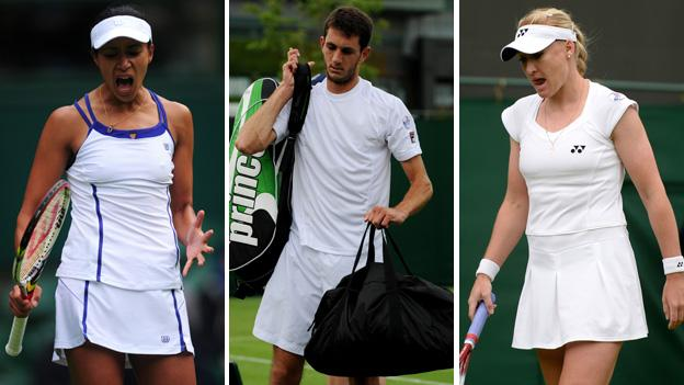 Anne Keothavong (left), James Ward and Elena Baltacha