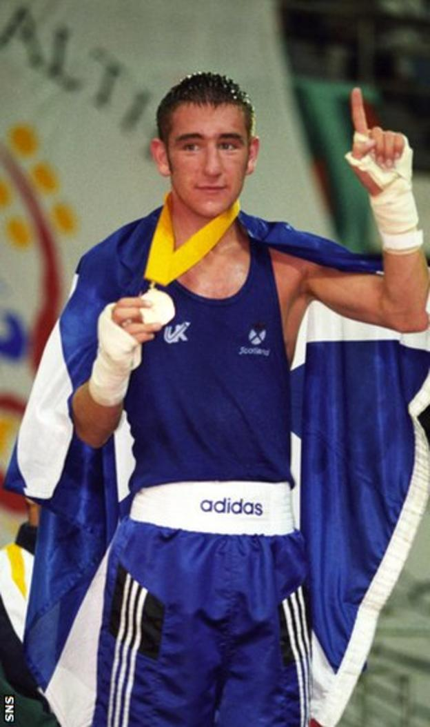 Alex Arthur with his gold medal at the 1998 Commonwealth Games in Kuala Lumpur
