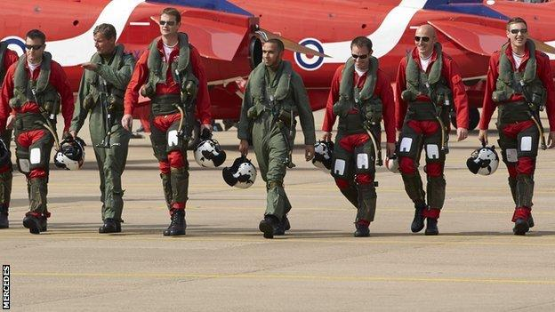 Lewis Hamilton and the Red Arrows
