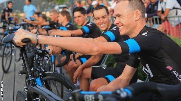 Chris Froome and his Team Sky team-mates