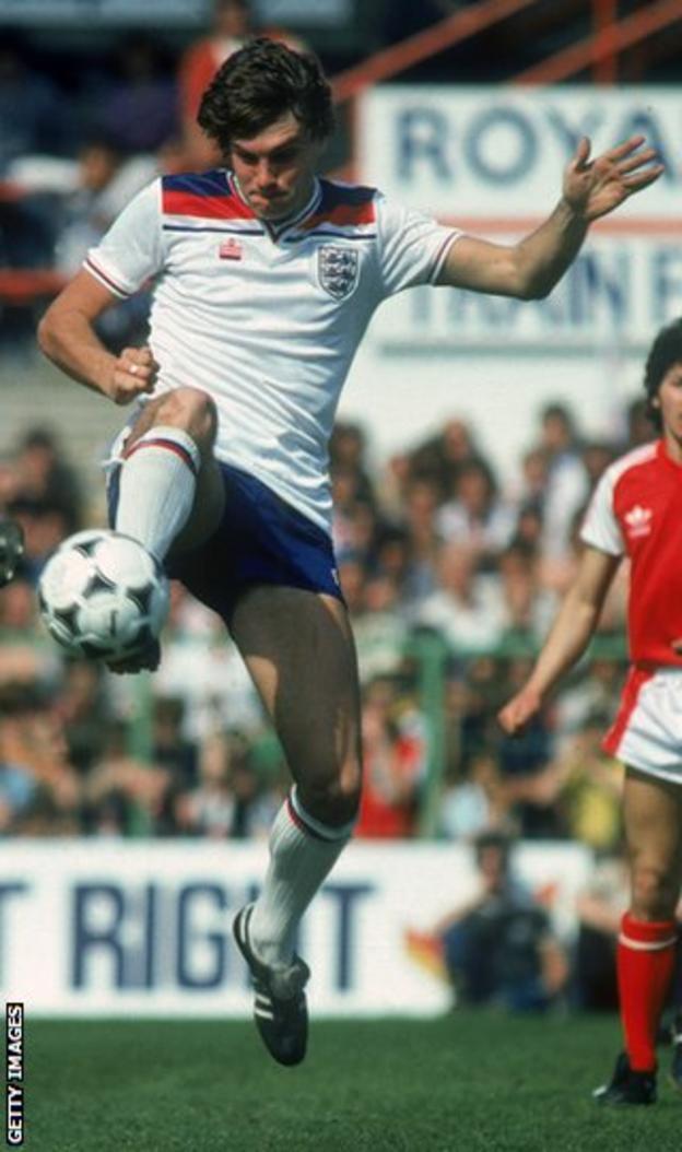 Glenn Hoddle in action for England in 1982