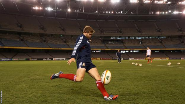 Wales full-back Leigh Halfpenny gets in some final kicking practice ahead of the British and Irish Lions' second Test against Australia in Melbourne.