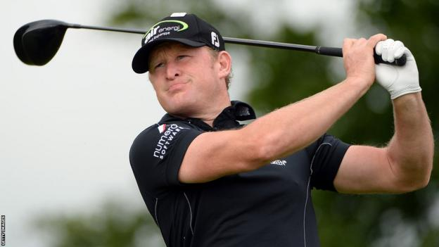 Defending champion Jamie Donaldson tees off during the second round of the Irish Open at Carton House Golf Club.